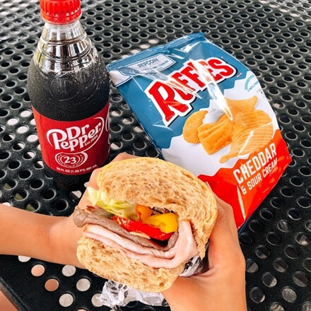 sub, chips, and Dr Pepper lunch