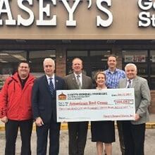 Casey's Presents Check to Red Cross